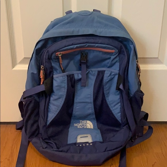 North Face Recon Blue Backpack with Orange Detail